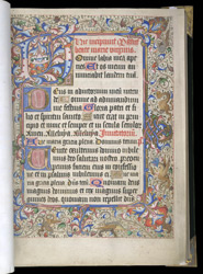 Illuminated Initial And Border, In A Book Of Hours